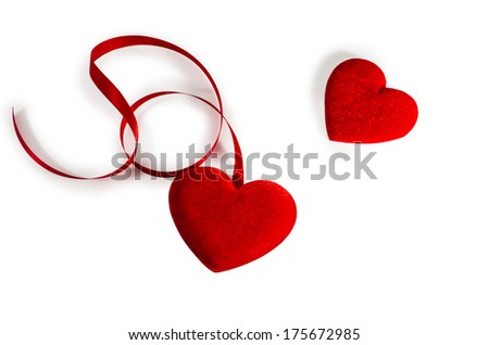 Two Red  Hearts  with red ribbon isolated on white (with path)