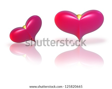 Two red hearts with reflection on a white background - stock photo