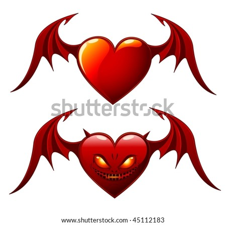 Two red hearts with wings isolated on white - Good and Evil - raster version.