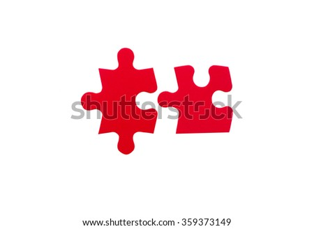 two red jigsaw pieces. concept of connection. Isolated on white background - stock photo