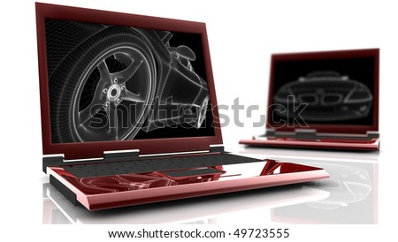 Two red laptop with a wireframe car on the monitor - stock photo