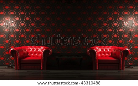 Two red leather armchairs,table and floor lamps 3d render