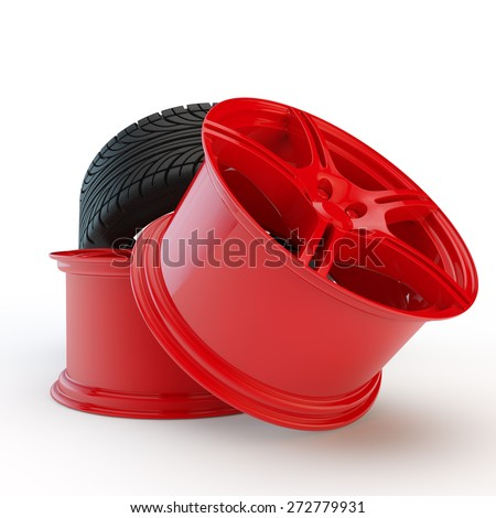 two red modern rims and rubber tire - stock photo