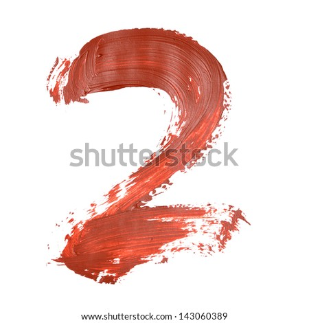 Two - Red numbers over white background - stock photo