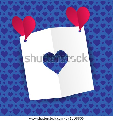 Two red paper hearts fly and keep a card with a heart-shaped slot. Blue background with ornaments pattern of hearts Valentine's day greeting card with cut paper heart. Raster illustration - stock photo