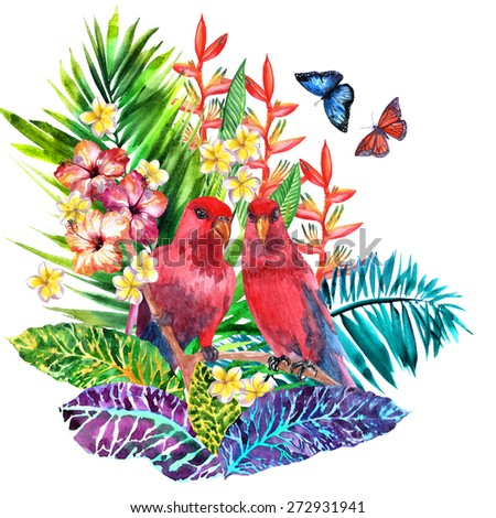 Two red parrots and a beautiful bouquet of tropical hibiscus flowers, orchids, palms and banana leaves, couple of birds, couple of butterflies flying. Watercolor realistic illustration - stock photo