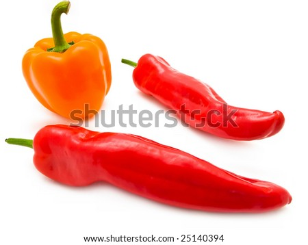 two red peppers and one orange paprika