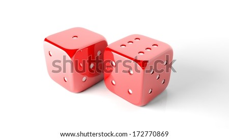 Two red random dices isolated on white background - stock photo