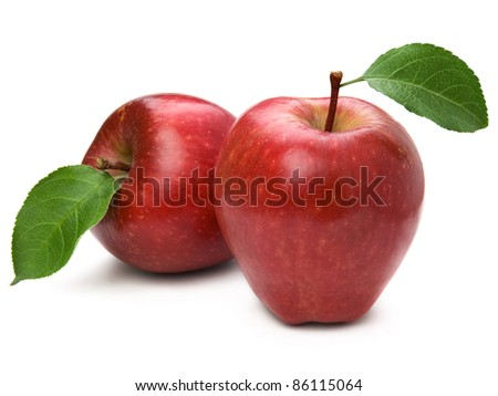 two red ripe apple fruit closeup isolated on white background