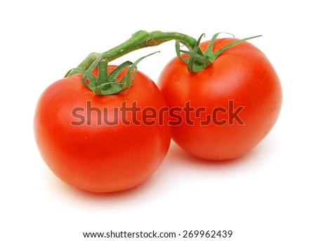 Two red ripe tomatoes isolated on white background - stock photo