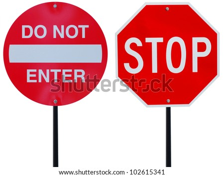 two red road signs on driving - stock photo