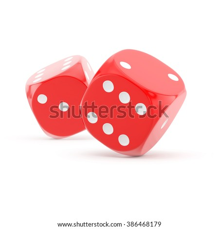 two red rolling dice on a white background