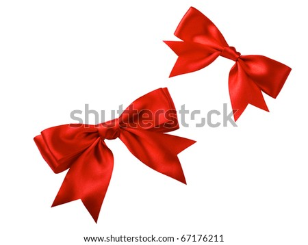 two red satin gift bows isolated on white - stock photo