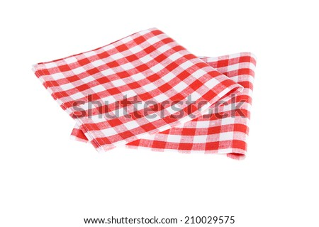 two red table napkins on white background isolated - stock photo