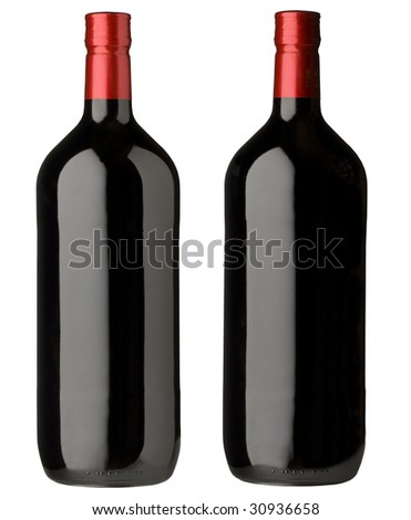 two red wine bottles with different lighting for design labels
