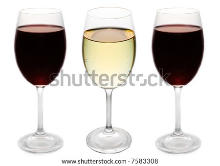 two red wine glasses and a white wine glass in the middle