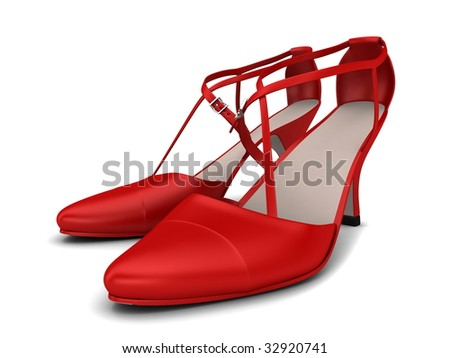 Two red woman shoes isolated on white
