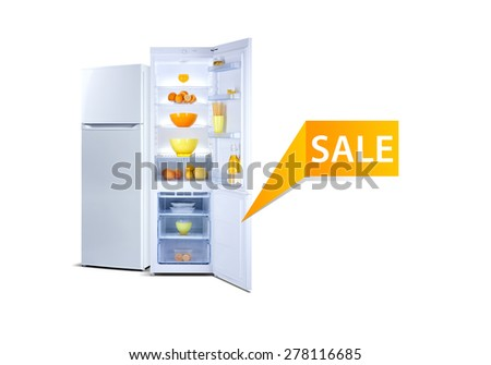 Two refrigerators isolated on white, open door, Class A+, A plus plus, eco, fresh food, sale word - stock photo