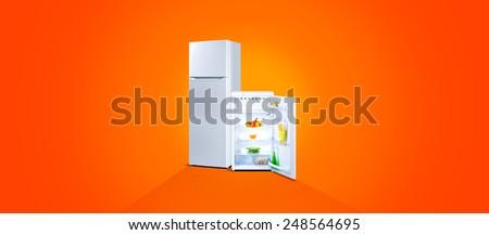 Two refrigerators with fresh food, open door, white steel, orange background - stock photo