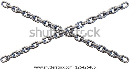 Two regular scratched metal chains crossing each other on an isolated background - stock photo