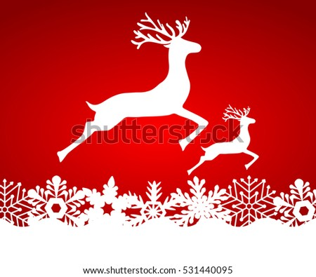 Two reindeer jump to each other on a red background with snowflakes