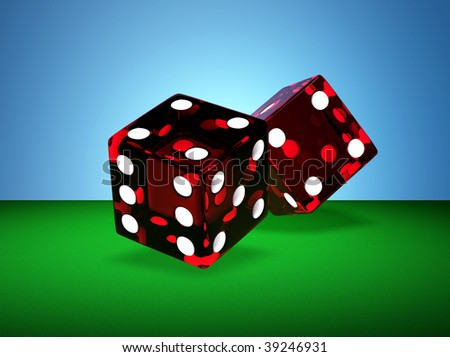 Two rendered red glass dices - stock photo