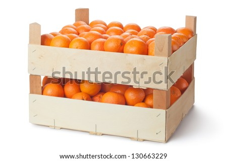 Two retail crates of ripe tangerines. Isolated on a white. - stock photo