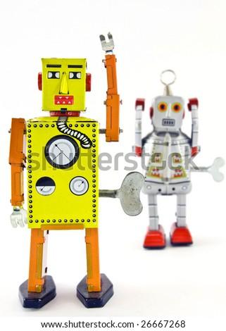 two retro robot toys - stock photo