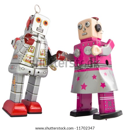 two retro robots - stock photo