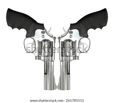Two revolvers isolated on white background - stock photo