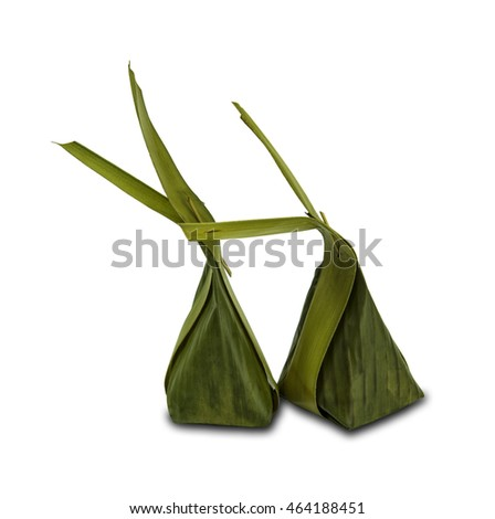 two Rice custard wrapped in banana leaf,traditional sweets,isolated on white and clipping path