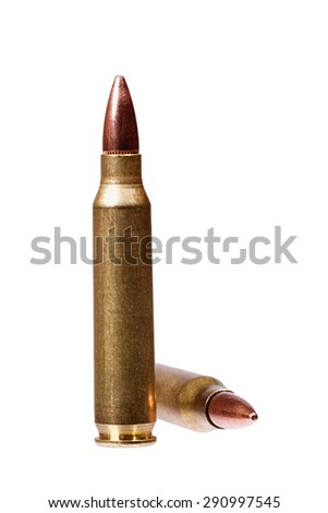 Two rifle bullets isolated on white. - stock photo