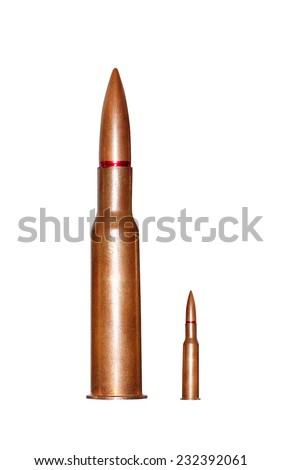 Two rifle bullets over white background
