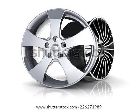 Two Rims car on white background (done in 3d)     - stock photo
