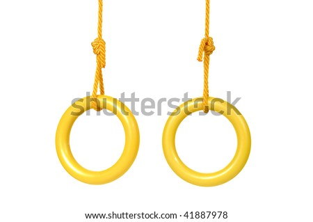 Two rings yellow on rope isolated on white background - stock photo