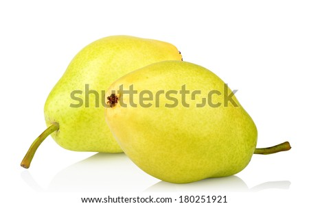 two ripe green yellow pears  isolated on white