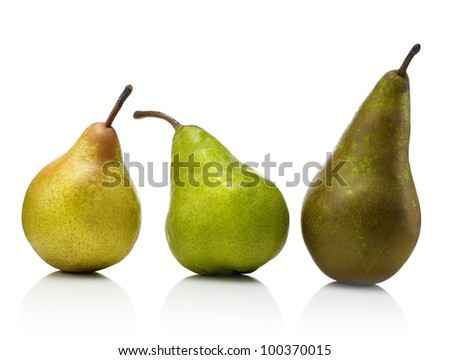 Two ripe pears isolated on white background - stock photo