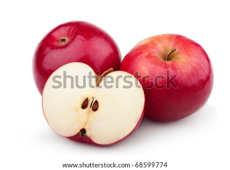 Two ripe red apples and half of apple. Isolated on a white background - stock photo