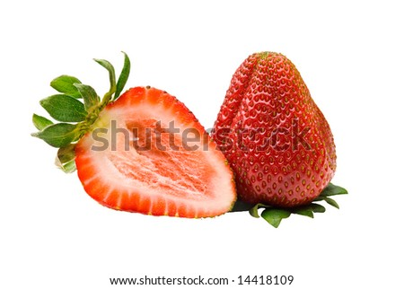 Two ripe red strawberries, whole and cut, with leaves, isolated over white background - stock photo