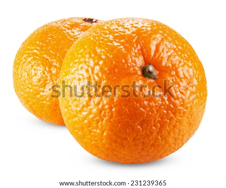 Two ripe tangerines isolated on white background  - stock photo