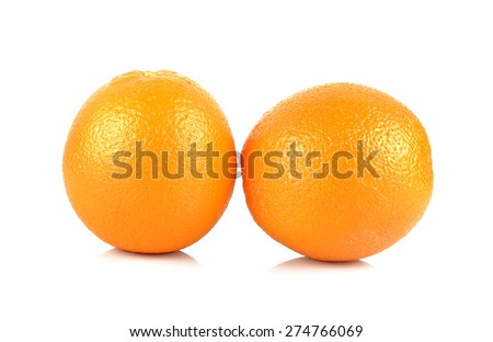 Two ripe tangerines isolated on white background. - stock photo