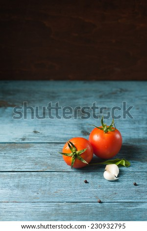 Two ripe tomatoes with garlic and pepper as ketchup ingredients placed in artistic multicolored wooden setting with copy space - stock photo