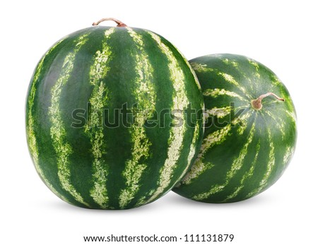 Two ripe watermelons berry isolated on white background - stock photo