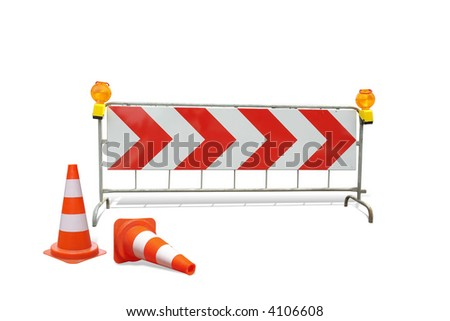 Two road guards and red stripe barrier with warning lights  isolated on white - stock photo