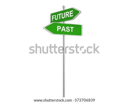 Two road signs, Future - Past, 3d illustration