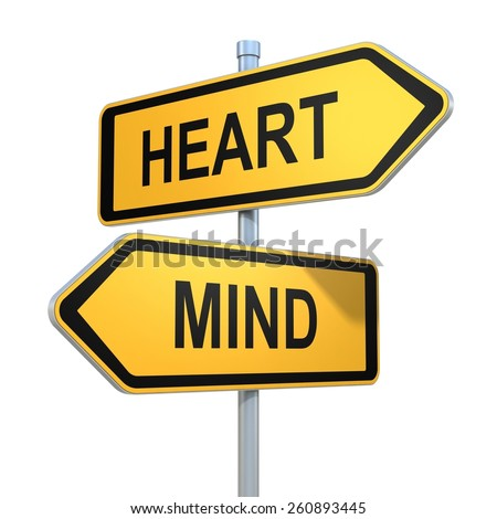 two road signs - heart or mind choice - stock photo