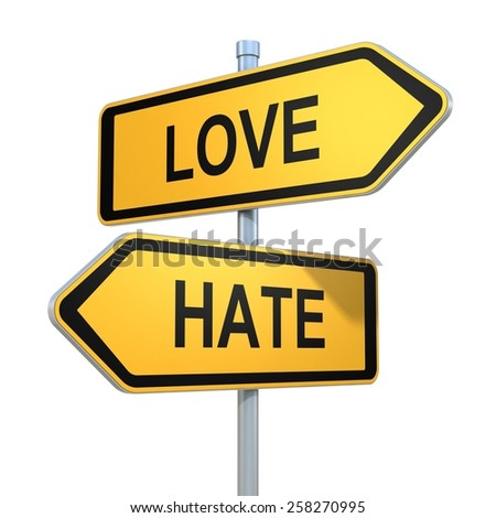two road signs - love hate choice - stock photo