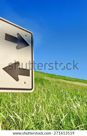Two road signs pointing in opposite directions with green grass and blue sky in the background. - stock photo