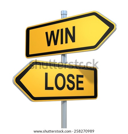 two road signs - win lose choice - stock photo