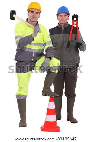 two road workers posing